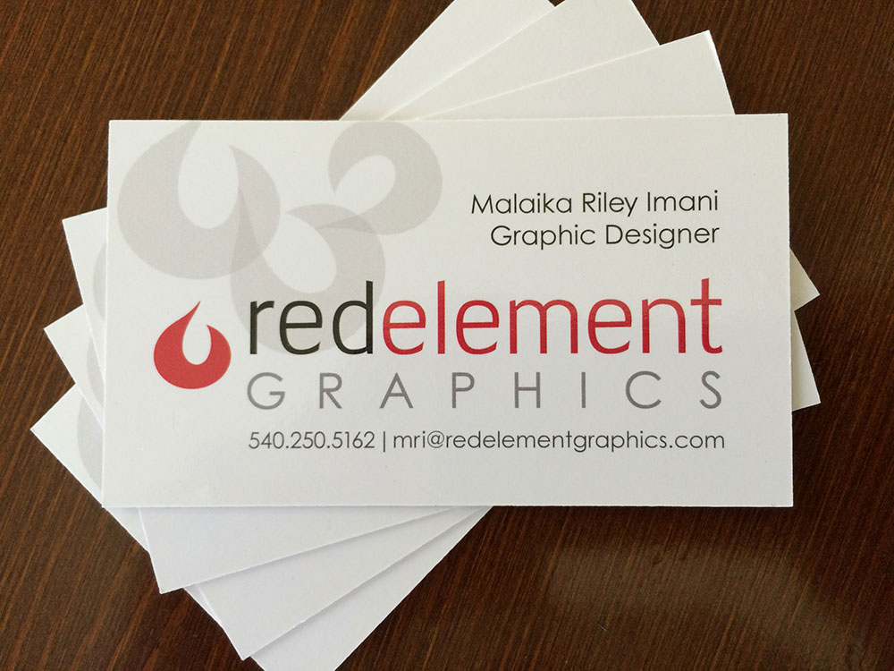 Business card array showing contact information for Red Element Graphics